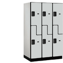Salsbury Industries 27364GRY Extra Wide Designer Wood Locker - Double Tier S Style - 3 Wide - 6 Feet High - 24 Inches Deep - Gray