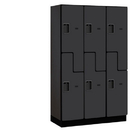 Salsbury Industries 27368BLK Extra Wide Designer Wood Locker - Double Tier S Style - 3 Wide - 6 Feet High - 18 Inches Deep - Black