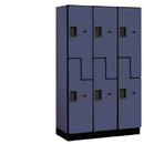 Salsbury Industries 27368BLU Extra Wide Designer Wood Locker - Double Tier S Style - 3 Wide - 6 Feet High - 18 Inches Deep - Blue