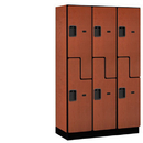 Salsbury Industries 27368CHE Extra Wide Designer Wood Locker - Double Tier S Style - 3 Wide - 6 Feet High - 18 Inches Deep - Cherry