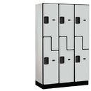 Salsbury Industries 27368GRY Extra Wide Designer Wood Locker - Double Tier S Style - 3 Wide - 6 Feet High - 18 Inches Deep - Gray