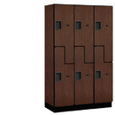 Salsbury Industries 27368MAH Extra Wide Designer Wood Locker - Double Tier S Style - 3 Wide - 6 Feet High - 18 Inches Deep - Mahogany