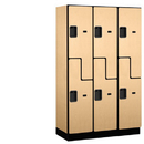 Salsbury Industries 27368MAP Extra Wide Designer Wood Locker - Double Tier S Style - 3 Wide - 6 Feet High - 18 Inches Deep - Maple