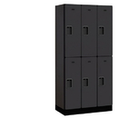 Salsbury Industries 32368BLK Designer Wood Locker - Double Tier - 3 Wide - 6 Feet High - 18 Inches Deep - Black
