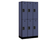 Salsbury Industries 32368BLU Designer Wood Locker - Double Tier - 3 Wide - 6 Feet High - 18 Inches Deep - Blue