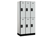 Salsbury Industries 32368GRY Designer Wood Locker - Double Tier - 3 Wide - 6 Feet High - 18 Inches Deep - Gray