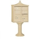 Salsbury Industries Regency Decorative CBU (Includes Pedestal, CBU Top and Pedestal Cover - Tall) - 4 C Size Doors - Type V - USPS Access