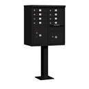 Salsbury Industries 3308BLK-P Cluster Box Unit (Includes Pedestal and Master Commercial Locks) - 8 A Size Doors - Type I - Black - Private Access
