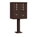 Salsbury Industries 3308BRZ-P Cluster Box Unit (Includes Pedestal and Master Commercial Locks) - 8 A Size Doors - Type I - Bronze - Private Access
