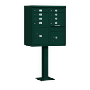 Salsbury Industries 3308GRN-P Cluster Box Unit (Includes Pedestal and Master Commercial Locks) - 8 A Size Doors - Type I - Green - Private Access