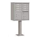 Salsbury Industries 3308GRY-P Cluster Box Unit (Includes Pedestal and Master Commercial Locks) - 8 A Size Doors - Type I - Gray - Private Access