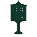 Salsbury Industries 3308R-GRN-P Regency Decorative CBU (Includes CBU, Pedestal, CBU Top, Pedestal Cover - Tall and Master Commercial Locks) - 8 A Size Doors - Type I - Green - Private Access