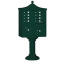 Salsbury Industries 3308R-GRN-U Regency Decorative CBU (Includes CBU, Pedestal, CBU Top and Pedestal Cover - Tall) - 8 A Size Doors - Type I - Green - USPS Access