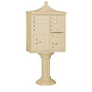 Salsbury Industries 3308R-SAN-P Regency Decorative CBU (Includes CBU, Pedestal, CBU Top, Pedestal Cover - Tall and Master Commercial Locks) - 8 A Size Doors - Type I - Sandstone - Private Access