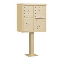 Salsbury Industries 3308SAN-P Cluster Box Unit (Includes Pedestal and Master Commercial Locks) - 8 A Size Doors - Type I - Sandstone - Private Access