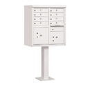 Salsbury Industries 3308WHT-P Cluster Box Unit (Includes Pedestal and Master Commercial Locks) - 8 A Size Doors - Type I - White - Private Access