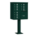 Salsbury Industries 3312GRN-U Cluster Box Unit (Includes Pedestal) - 12 A Size Doors - Type II - Green - USPS Access