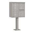 Salsbury Industries 3312GRY-U Cluster Box Unit (Includes Pedestal) - 12 A Size Doors - Type II - Gray - USPS Access