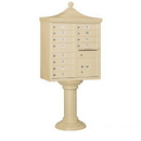 Salsbury Industries 3312R-SAN-P Regency Decorative CBU (Includes CBU, Pedestal, CBU Top, Pedestal Cover - Tall and Master Commercial Locks) - 12 A Size Doors - Type II - Sandstone - Private Access