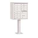 Salsbury Industries 3312WHT-U Cluster Box Unit (Includes Pedestal) - 12 A Size Doors - Type II - White - USPS Access