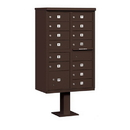 Salsbury Industries 3313BRZ-U Cluster Box Unit (Includes Pedestal) - 13 B Size Doors - Type IV - Bronze - USPS Access