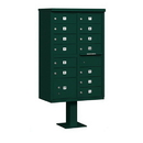 Salsbury Industries 3313GRN-P Cluster Box Unit (Includes Pedestal and Master Commercial Locks) - 13 B Size Doors - Type IV - Green - Private Access