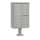 Salsbury Industries 3313GRY-P Cluster Box Unit (Includes Pedestal and Master Commercial Locks) - 13 B Size Doors - Type IV - Gray - Private Access