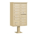 Salsbury Industries 3313SAN-P Cluster Box Unit (Includes Pedestal and Master Commercial Locks) - 13 B Size Doors - Type IV - Sandstone - Private Access