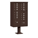Salsbury Industries 3316BRZ-P Cluster Box Unit (Includes Pedestal and Master Commercial Locks) - 16 A Size Doors - Type III - Bronze - Private Access