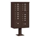 Salsbury Industries 3316BRZ-U Cluster Box Unit (Includes Pedestal) - 16 A Size Doors - Type III - Bronze - USPS Access