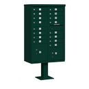 Salsbury Industries 3316GRN-P Cluster Box Unit (Includes Pedestal and Master Commercial Locks) - 16 A Size Doors - Type III - Green - Private Access