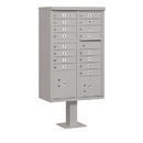Salsbury Industries 3316GRY-U Cluster Box Unit (Includes Pedestal) - 16 A Size Doors - Type III - Gray - USPS Access