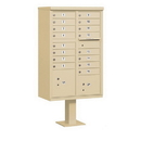 Salsbury Industries 3316SAN-U Cluster Box Unit (Includes Pedestal) - 16 A Size Doors - Type III - Sandstone - USPS Access