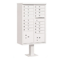 Salsbury Industries 3316WHT-P Cluster Box Unit (Includes Pedestal and Master Commercial Locks) - 16 A Size Doors - Type III - White - Private Access