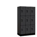 Salsbury Industries 33358BLK Designer Wood Locker - Triple Tier - 3 Wide - 5 Feet High - 18 Inches Deep - Black