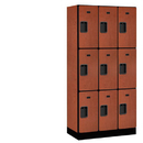 Salsbury Industries 33368CHE Designer Wood Locker - Triple Tier - 3 Wide - 6 Feet High - 18 Inches Deep - Cherry
