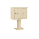 Salsbury Industries 3406D-2PSAN Pedestal Mounted 4C Horizontal Mailbox Unit - 6 Door High Unit (51-5/8 Inches) - Double Column - Stand-Alone Parcel Locker - 2 PL6's - Sandstone