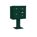 Salsbury Industries 3407D-03GRN Pedestal Mounted 4C Horizontal Mailbox Unit - 7 Door High Unit (55-1/8 Inches) - Double Column - 2 MB2 Doors / 1 MB3 Door / 1 PL5 - Green