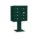 Salsbury Industries 3408D-07GRN Pedestal Mounted 4C Horizontal Mailbox Unit - 8 Door High Unit (58-5/8 Inches) - Double Column - 7 MB2 Doors - Green