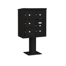 Salsbury Industries 3409D-06BLK Pedestal Mounted 4C Horizontal Mailbox Unit - 9 Door High Unit (62-1/8 Inches) - Double Column - 1 MB1 Door / 5 MB3 Doors - Black