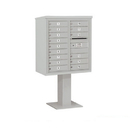 Salsbury Industries 3409D-15GRY Pedestal Mounted 4C Horizontal Mailbox Unit - 9 Door High Unit (62-1/8 Inches) - Double Column - 15 MB1 Doors - Gray