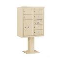 Salsbury Industries 3410D-06SAN Pedestal Mounted 4C Horizontal Mailbox Unit - 10 Door High Unit (65-5/8 Inches) - Double Column - 6 MB2 Doors / 1 PL6 - Sandstone