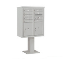 Salsbury Industries 3410D-08GRY Pedestal Mounted 4C Horizontal Mailbox Unit - 10 Door High Unit (65-5/8 Inches) - Double Column - 8 MB1 Doors / 2 PL5's - Gray
