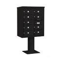 Salsbury Industries 3410D-09BLK Pedestal Mounted 4C Horizontal Mailbox Unit - 10 Door High Unit (65-5/8 Inches) - Double Column - 9 MB2 Doors - Black