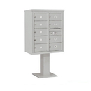 Salsbury Industries 3410D-09GRY Pedestal Mounted 4C Horizontal Mailbox Unit - 10 Door High Unit (65-5/8 Inches) - Double Column - 9 MB2 Doors - Gray