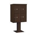 Salsbury Industries 3410D-4PBRZ Pedestal Mounted 4C Horizontal Mailbox Unit - 10 Door High Unit (65 5/8 Inches) - Double Column - Stand-Alone Parcel Locker - 4 PL5's - Bronze