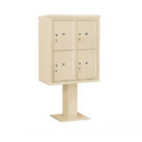 Salsbury Industries 3410D-4PSAN Pedestal Mounted 4C Horizontal Mailbox Unit - 10 Door High Unit (65 5/8 Inches) - Double Column - Stand-Alone Parcel Locker - 4 PL5's - Sandstone