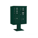 Salsbury Industries 3410DX-07GRN Pedestal Mounted 4C Horizontal Mailbox ADA Height Compliant Unit - 10 Door High Unit (52 5/8 Inches) - Double Column - 7 MB1 Doors / 1 PL5 and 1 PL6 - Green
