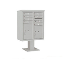 Salsbury Industries 3410DX-07GRY Pedestal Mounted 4C Horizontal Mailbox ADA Height Compliant Unit - 10 Door High Unit (52 5/8 Inches) - Double Column - 7 MB1 Doors / 1 PL5 and 1 PL6 - Gray