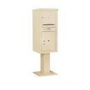 Salsbury Industries 3410S-01SAN Pedestal Mounted 4C Horizontal Mailbox Unit - 10 Door High Unit (65-5/8 Inches) - Single Column - 1 MB3 Door / 1 PL5 - Sandstone